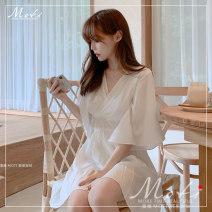 Dress Summer 2020 White, black S,M,L,XL Short skirt singleton  elbow sleeve commute V-neck High waist 18-24 years old Korean version 2010#