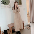 Dress Spring 2021 Apricot S,M,L,XL Mid length dress singleton  Long sleeves commute V-neck High waist other Others 18-24 years old Korean version 3233#