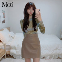 Fashion suit Spring 2021 S,M,L,XL Blue leather skirt, Khaki Skirt, grey sweater 18-25 years old