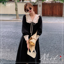 Dress Autumn 2020 black S,M,L longuette singleton  Long sleeves commute Doll Collar High waist Solid color zipper other routine Others 18-24 years old other literature 81% (inclusive) - 90% (inclusive) other