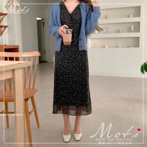 Dress Winter 2020 Brown, black S,M,L,XL Mid length dress singleton  Long sleeves V-neck High waist 18-24 years old polyester fiber