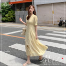 Dress Summer of 2019 yellow S,M,L,XL longuette singleton  Short sleeve commute V-neck High waist Decor routine Others 18-24 years old Other / other Korean version GG More than 95% Chiffon