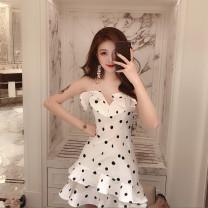 Dress Summer of 2019 Black spots on white background S,M,L Dot Socket Irregular skirt camisole Ruffles, asymmetric