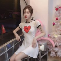 Dress Summer 2020 White, yellow, black S,M,L Short skirt singleton  Short sleeve commute Crew neck High waist Solid color Socket A-line skirt Others 18-24 years old Simplicity Stitching, printing cotton