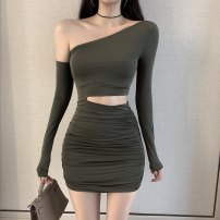 Dress Autumn 2020 Dark green, black S,M,L Short skirt singleton  Long sleeves Sweet One word collar High waist Solid color Socket One pace skirt routine Oblique shoulder 31% (inclusive) - 50% (inclusive) polyester fiber