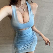 Dress Summer 2020 wathet S,M,L Short skirt singleton  Sleeveless commute square neck High waist Solid color Socket Pencil skirt Hanging neck style 18-24 years old Type X Korean version Hollowing out 91% (inclusive) - 95% (inclusive) knitting cotton