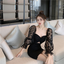 Dress Autumn 2020 black S, M Middle-skirt singleton  commute Solid color Breast wrapping 18-24 years old Type H 51% (inclusive) - 70% (inclusive)
