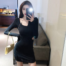 Dress Winter 2020 black S,M,L Short skirt Fake two pieces Long sleeves commute square neck middle-waisted Solid color Socket Pencil skirt routine 18-24 years old Type X Korean version Hollowing out 51% (inclusive) - 70% (inclusive) knitting cotton
