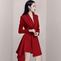 Dress Spring 2020 Red, black S,M,L,XL Middle-skirt singleton  Long sleeves commute V-neck High waist Solid color other Pleated skirt Others Type A Korean version Asymmetry HY3176-2 31% (inclusive) - 50% (inclusive)