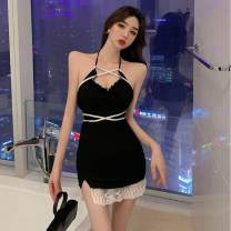 Dress Summer 2021 black S,M,L Short skirt singleton  Sleeveless commute square neck middle-waisted Solid color Socket other other camisole 25-29 years old Type A backless 81% (inclusive) - 90% (inclusive) other other