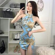 cheongsam Summer 2020 S,M,L blue Short cheongsam 18-25 years old 71% (inclusive) - 80% (inclusive)