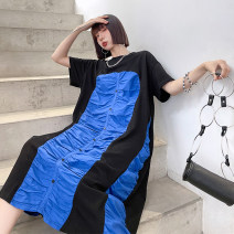 Dress Spring 2021 Picture color Average size Mid length dress singleton  Short sleeve street Crew neck Loose waist Solid color Socket A-line skirt routine Others 25-29 years old Type A Pleats, stitches, buttons 9196# Europe and America
