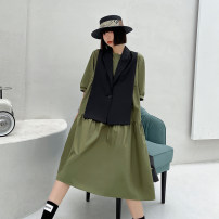 Dress Spring 2021 Army green, smoke grey M,L,XL Mid length dress Two piece set Short sleeve street Crew neck Loose waist Solid color Single breasted A-line skirt routine Others 25-29 years old Type A Button 7039# Europe and America