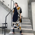 Dress Summer 2021 Picture color Average size Mid length dress singleton  Short sleeve street other Loose waist character A button Irregular skirt routine Others 25-29 years old Type H Stitching, asymmetry, buttons, printing 1193# Europe and America