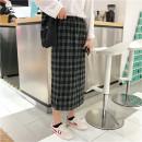 skirt Autumn of 2018 XL,2XL,3XL,4XL Orange, Navy Mid length dress Retro High waist High waist skirt lattice Type A 91% (inclusive) - 95% (inclusive) Wool