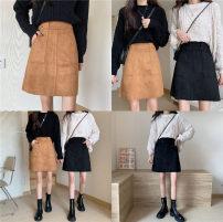 skirt Winter 2020 M,L,XL,2XL,3XL,4XL Black, light brown Short skirt commute High waist A-line skirt Solid color Type A 25-29 years old Wool polyester fiber Rivet, zipper