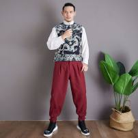 Vest / vest Fashion City Mafan cloth clothes XL,L,M Blue, red Other leisure Self cultivation Vest Plush and thicken V-neck youth 2019 Silver button dragon vest other Single breasted Straight hem other printing