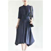 Dress Spring 2021 Blue in stock S,M,L,XL longuette singleton  Short sleeve commute Crew neck Solid color Single breasted routine Special clothes 51% (inclusive) - 70% (inclusive) other