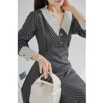 Dress Spring 2021 Black spot M,L,XL Mid length dress Long sleeves V-neck zipper routine Special clothes More than 95% other other