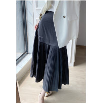 skirt Spring 2021 M, L Grey Spot, black spot Mid length dress Versatile High waist Pleated skirt Solid color 71% (inclusive) - 80% (inclusive) Special clothes polyester fiber