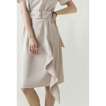 Dress Spring 2021 Black stock, beige stock M,L,XL,2XL Mid length dress singleton  Short sleeve commute V-neck High waist other Socket routine Special clothes Korean version More than 95% other other