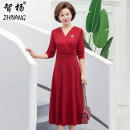 Middle aged and old women's wear Spring of 2019 Red, green fashion Dress Self cultivation singleton  Solid color 40-49 years old Socket moderate V-neck routine Zhiyang Medium length Polyester Ruffle Skirt