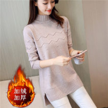 sweater Winter 2020 S,M,L,XL,2XL Apricot, pink, yellow, off white, gray, black Long sleeves Socket singleton  Medium length cotton 71% (inclusive) - 80% (inclusive) Half high collar Regular Sweet routine Solid color Self cultivation Regular wool Keep warm and warm