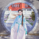 Custom made Hanfu A complete set of 3 pieces, blue Chinese dress piece, white dress piece with light cross collar, one piece embroidered pleated skirt piece, construction period 1-2 weeks (do not shoot) other female Midnight Song Hanfu