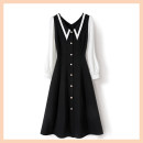 Dress Summer 2021 black Mid length dress Long sleeves commute Loose waist Type A Other / other