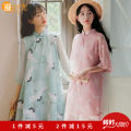 Dress Summer 2021 Apricot Qipao skirt, green Qipao skirt, pink Qipao skirt, beibai Qipao skirt S,M,L,XL Mid length dress singleton  elbow sleeve Sweet other High waist Decor Socket other other Others 18-24 years old Type A Splicing 71% (inclusive) - 80% (inclusive) other other Mori