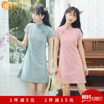 cheongsam Summer 2021 S,M,L,XL Apricot, pink, green, blue Short sleeve Short cheongsam grace Low slit Oblique lapel other 18-25 years old other 71% (inclusive) - 80% (inclusive)