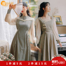 Dress Spring 2021 S,M,L,XL,2XL Mid length dress singleton  Long sleeves commute Crew neck High waist lattice Socket A-line skirt routine Others 18-24 years old Type A Retro Resin fixation 9386# 31% (inclusive) - 50% (inclusive) brocade cotton