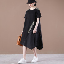 Dress Summer 2021 Black, army green Average size Mid length dress singleton  Short sleeve Crew neck Loose waist letter Big swing routine Other / other Stitching, printing 31% (inclusive) - 50% (inclusive) cotton