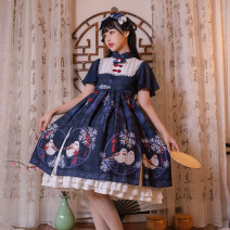 Dress Summer of 2019 navy blue M Middle-skirt singleton  Short sleeve Sweet stand collar High waist Animal design Three buttons Ruffle Skirt Flying sleeve Others Stepping on the moon Bow, ruffle, zipper, lace 91% (inclusive) - 95% (inclusive) other hemp Lolita