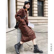 skirt Autumn 2020 S, M Cranberry, Matcha, red bean Mid length dress commute lattice 18-24 years old P924 30% and below Wool Huaji wool Retro