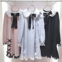 Dress Spring 2021 Light blue, black, pink Average size Short skirt singleton  Long sleeves Sweet Doll Collar Loose waist Big swing routine 18-24 years old Type A knitting solar system