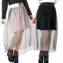 skirt Spring 2020 Average size Black, beige Sweet Natural waist Solid color Type A 18-24 years old liz lisa angel solar system