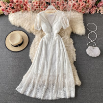 Dress Summer 2021 White, black S,M,L Mid length dress singleton  Short sleeve commute V-neck High waist Solid color Socket A-line skirt routine 18-24 years old Type A Korean version Hollowed out, pleated, zipper, lace 30% and below other other