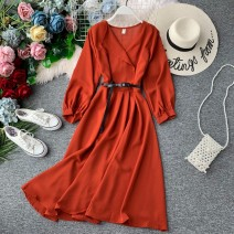 Dress Autumn of 2019 Average size Mid length dress singleton  Long sleeves commute V-neck High waist Solid color Socket Big swing bishop sleeve Others 18-24 years old Type A Korean version 31% (inclusive) - 50% (inclusive) other other