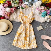 Dress Summer 2020 White leaf with yellow background S,M,L Middle-skirt singleton  Sleeveless commute V-neck High waist Decor Single breasted A-line skirt other Others 18-24 years old Type A Korean version Pleated, open back, button, print