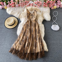 Dress Spring 2021 Black, blue, apricot, brown S,M,L Mid length dress singleton  Sleeveless commute V-neck High waist letter Socket A-line skirt other 18-24 years old Type A Korean version 30% and below other other
