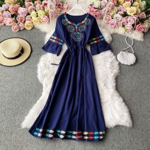 Dress Winter 2020 White, blue, red Average size Mid length dress singleton  Long sleeves commute Crew neck High waist Solid color Socket A-line skirt routine Others 18-24 years old Type A Korean version 30% and below other other