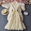 Dress Winter 2020 Ginger, black, off white Average size Mid length dress singleton  Long sleeves commute Crew neck High waist Solid color Socket A-line skirt routine Others 18-24 years old Type A Korean version 30% and below other other