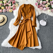 Dress Autumn 2020 Black, lake blue, red, orange, yellow, army green, pink, chocolate Average size Mid length dress singleton  Long sleeves commute tailored collar High waist Solid color Socket A-line skirt routine Others 18-24 years old Type A Korean version 30% and below other other