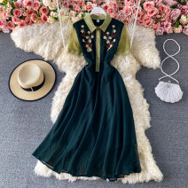 Dress Summer 2021 green S,M,L,XL,2XL Mid length dress singleton  Short sleeve commute Polo collar High waist Solid color Socket A-line skirt routine 18-24 years old Type A Korean version Embroidery, buttons 30% and below other other