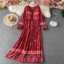 Dress Summer 2021 Red, pink, yellow, light blue, blue, black Average size Mid length dress singleton  Long sleeves commute Crew neck Loose waist Decor Socket Big swing bishop sleeve Others 18-24 years old Type A Korean version Frenulum 30% and below other other