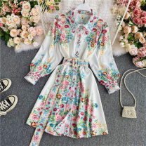 Dress Winter 2020 Decor M,L,XL,2XL Mid length dress singleton  Long sleeves commute Polo collar High waist Decor Single breasted A-line skirt shirt sleeve Others 18-24 years old Type A Korean version Strap, button 30% and below other other