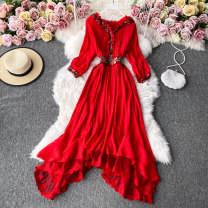 Dress Winter 2020 White, red Average size Mid length dress singleton  Long sleeves commute V-neck High waist Solid color Socket A-line skirt routine Others 18-24 years old Type A Korean version 30% and below other other