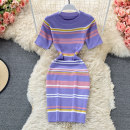 Dress Summer 2021 Purple, blue, black Average size Middle-skirt singleton  Short sleeve commute Crew neck High waist Decor Socket A-line skirt routine 18-24 years old Type H Korean version Pleats, folds, waves 30% and below other other