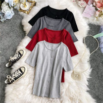 Wool knitwear Summer 2020 Average size Red, dark grey, light grey, black Short sleeve singleton  Cardigan other 30% and below have cash less than that is registered in the accounts routine commute Self cultivation Low crew neck routine Solid color Single breasted Korean version 18-24 years old